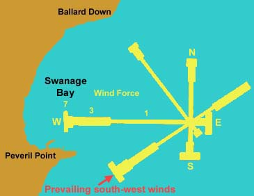 Wind forces and directions at Swanage over a year.  East and south-east winds are infrequent but strong and often interfere with dinghy fishing for black bream in April and May.